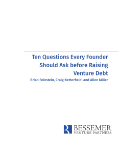Ten Questions Every Founder Should Ask before Raising Venture