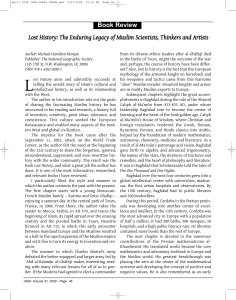 Book Review Lost History - Journal of the Islamic Medical