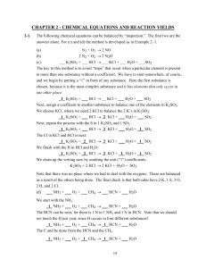 chapter 2 - chemical equations and reaction yields