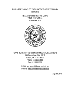 rules pertaining to the practice of veterinary medicine texas