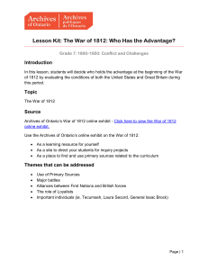 Lesson Kit: The War of 1812: Who Has the Advantage?