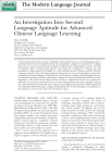 An Investigation Into Second Language Aptitude