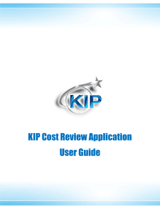 KIP Cost Review Application User Guide
