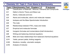 Chemistry 121: Topic 2 - From Atoms to Stoichiometry Topic 2