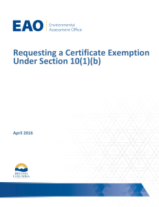 Requesting a Certificate Exemption Under Section 10(1)(b)