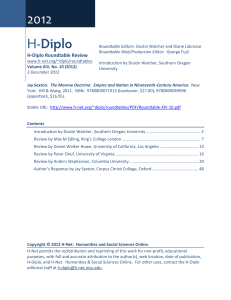 H-Diplo Roundtables, Vol. XIV, No. 10 (2012)