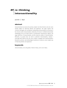 "Nash, Jennifer C. 2008. ""Re-thinking intersectionality."""