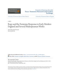 Rape and the Feminine Response in Early Modern England and