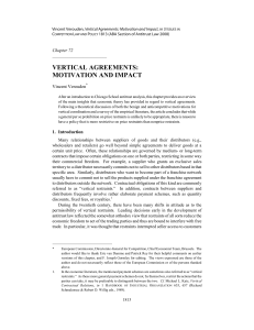 Vertical Agreements: Motivation and Impact