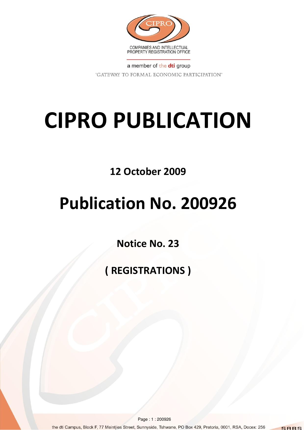 Publication No  200926 - Notice 23