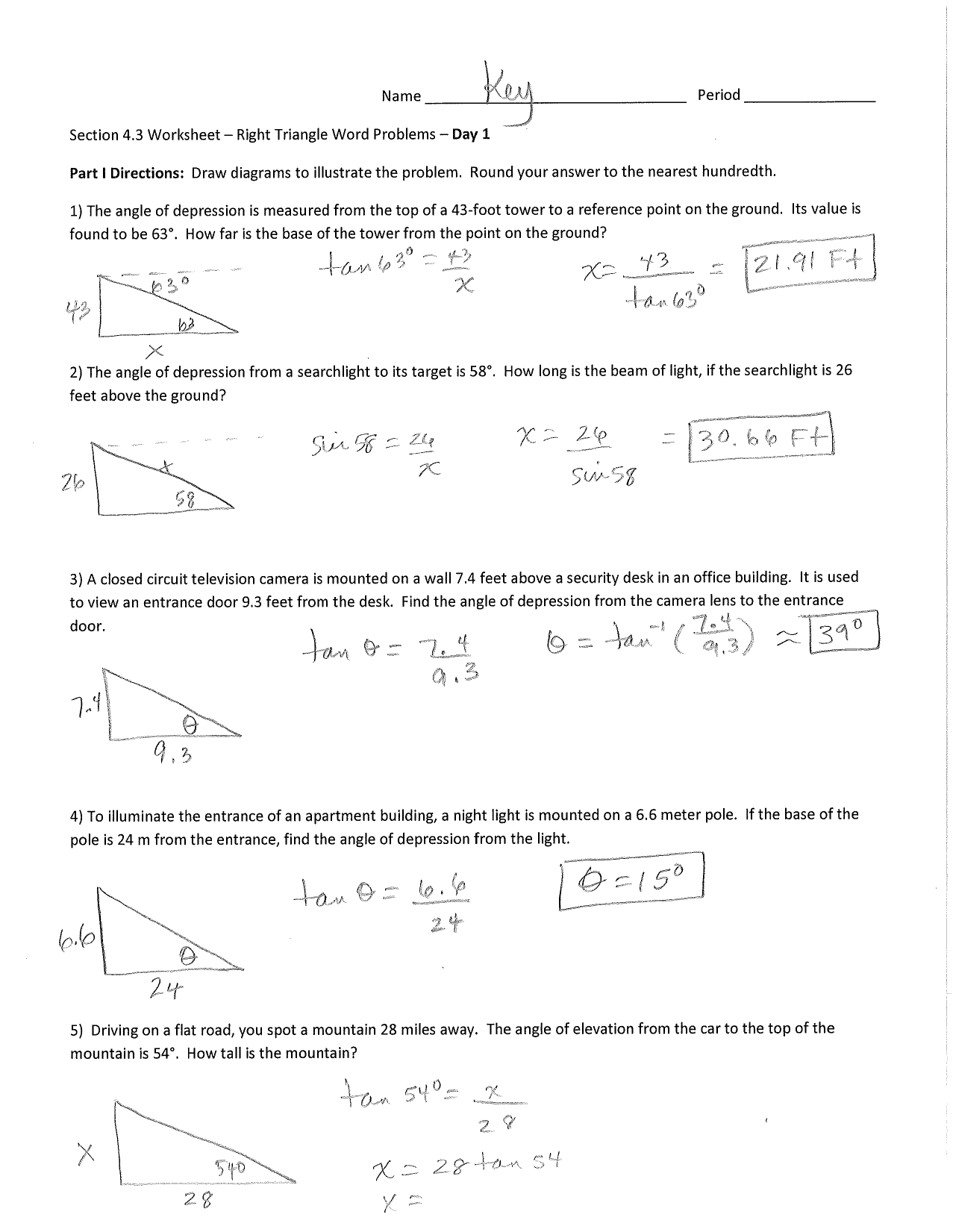 Name яя Section 1.1 Worksheet - Right Triangle Word