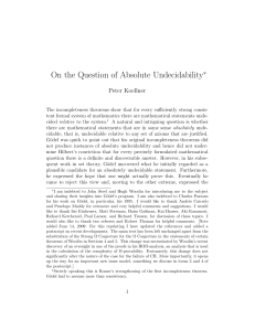 On the Question of Absolute Undecidability