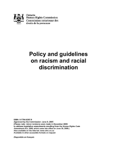 Policy and guidelines on racism and racial discrimination
