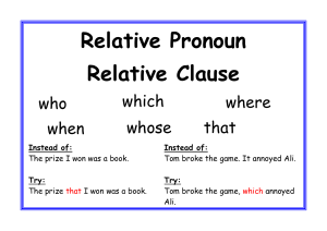 Relative Pronoun Relative Clause