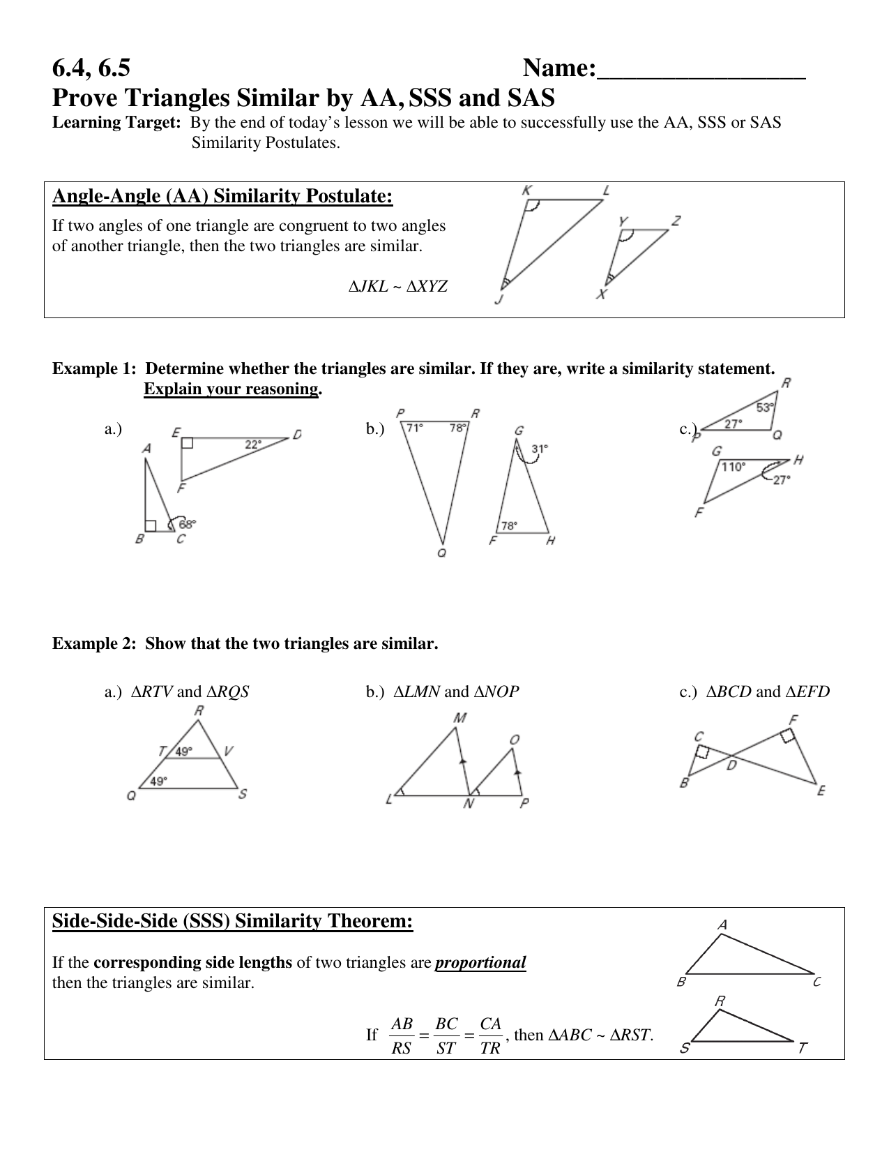 Prove Triangles Similar by AA,SSS and SAS