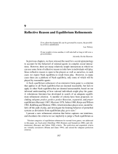Chapter 9: Reflective Reason and Equilibrium Refinements