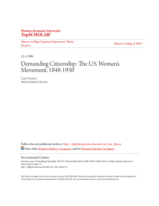 Demanding Citizenship: The US Women`s - TopSCHOLAR