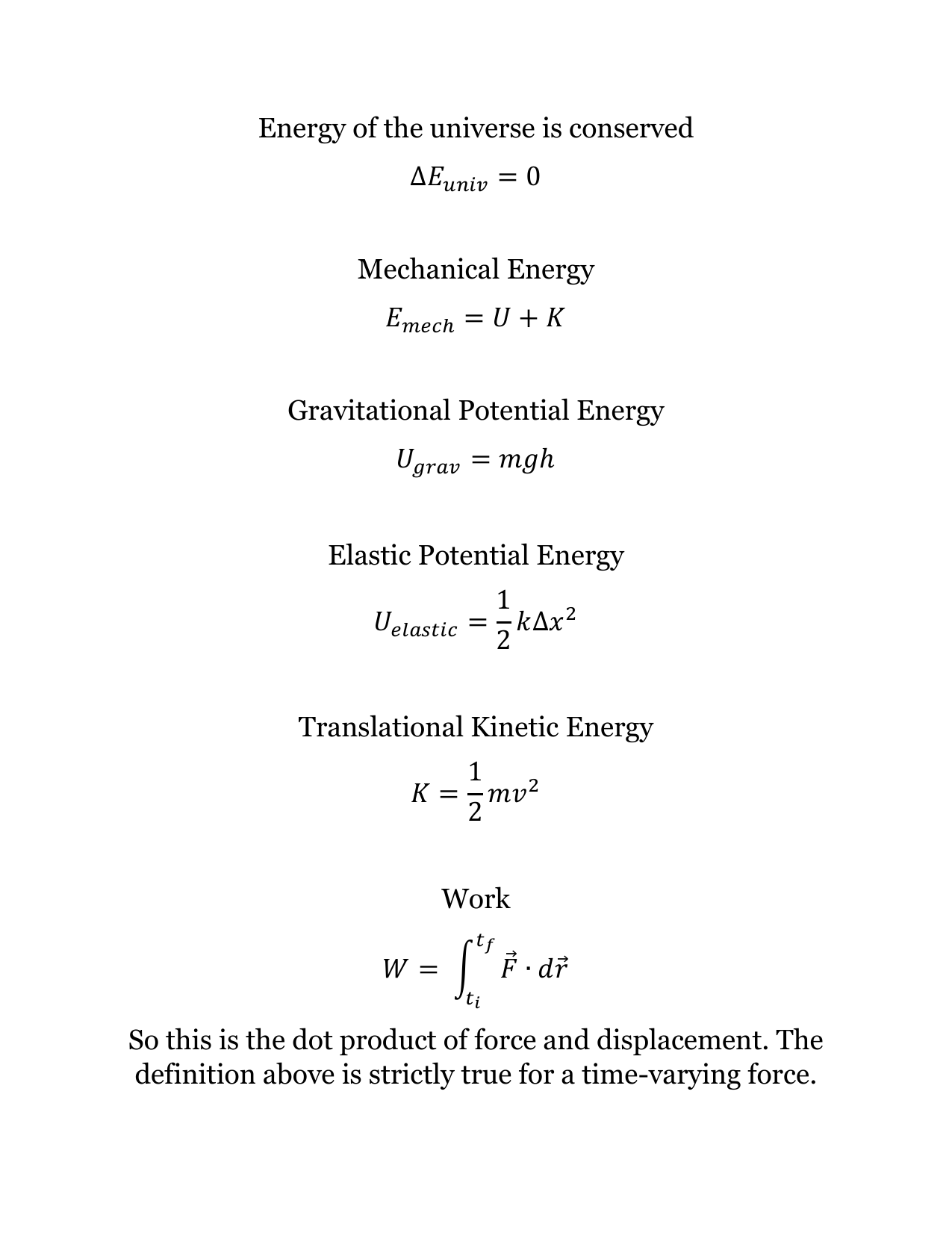 energy of the universe is conserved mechanical energy