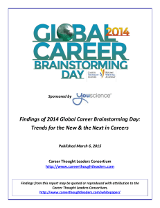Findings of 2014 Global Career Brainstorming Day