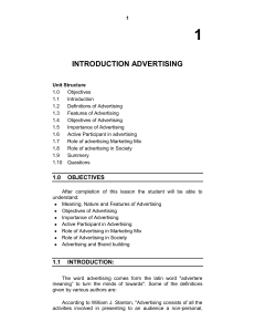 introduction advertising - University of Mumbai