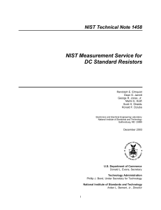 NIST Measurement Service for DC Standard Resistors