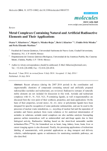 Metal Complexes Containing Natural and Artificial Radioactive