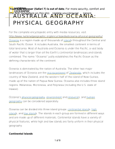 australia and oceania: physical geography