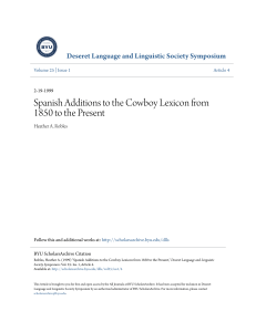 Spanish Additions to the Cowboy Lexicon from 1850 to the Present
