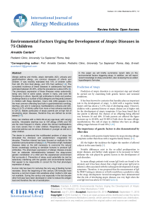 Environmental Factors Urging the Development of Atopic Diseases