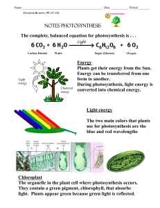 NOTES PHOTOSYNTHESIS The complete, balanced equation for