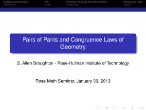Pairs of Pants and Congruence Laws of Geometry - Rose