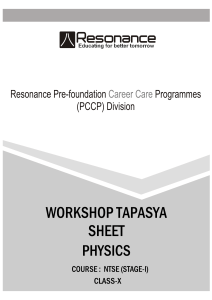 Physics - RESONANCE PCCP IDEAL for NTSE, IJSO, Olympiads