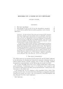Remarks on a paper of Guy Henniart