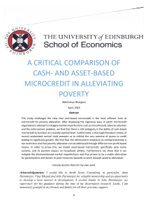 A Critical Comparison of cash- and asset-based Microcredit