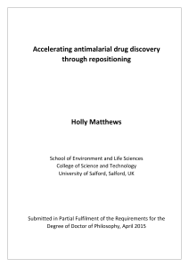 Accelerating antimalarial drug discovery through repositioning Holly