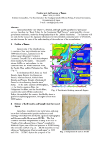 Fig. 2 Bathymetric Chart of JHOD Continental shelf survey of Japan