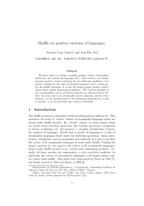 Shuffle on positive varieties of languages.