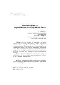 The Tandem Culture – Organizational Bureaucracy in Public Sector
