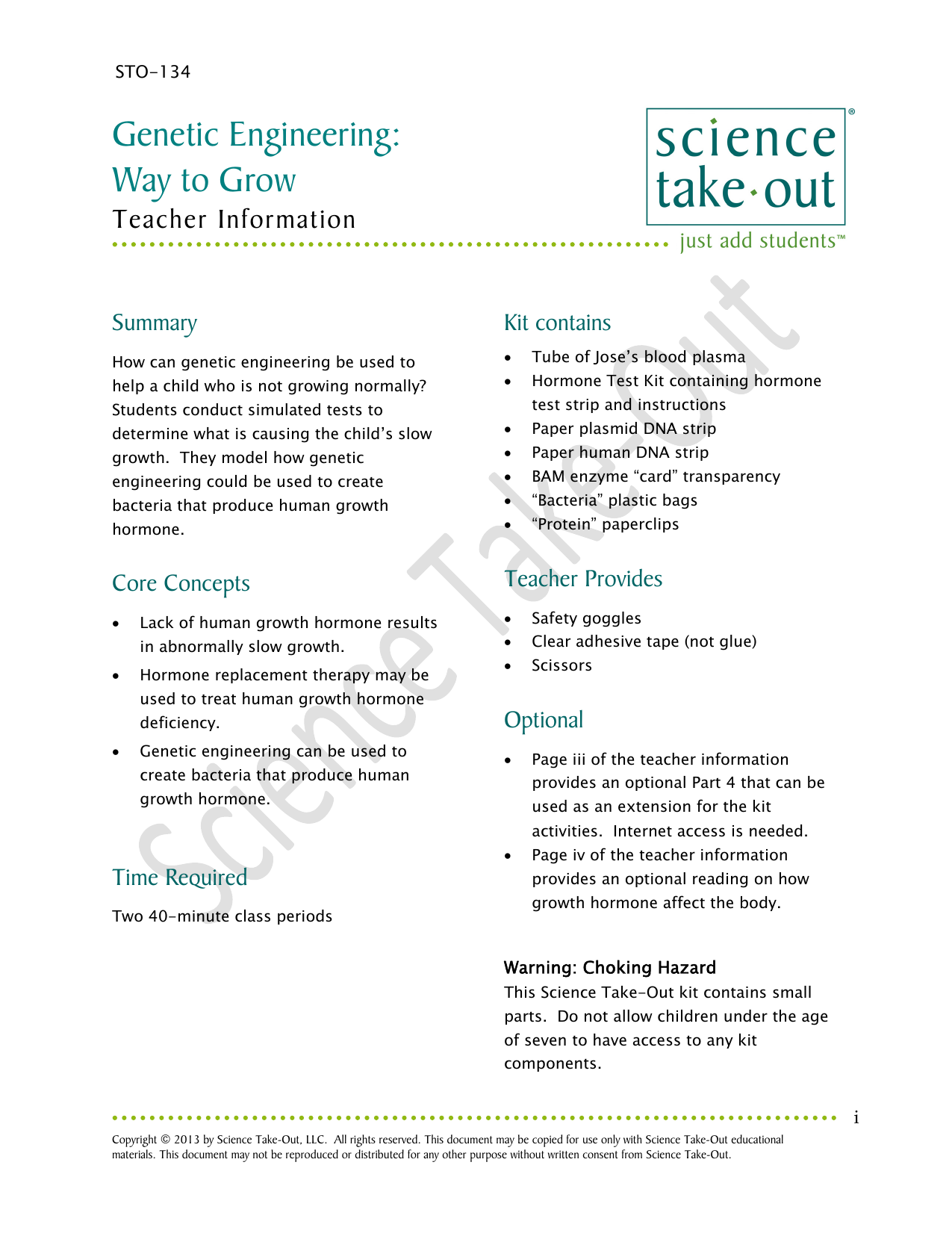 Teacher Guide - Science Take-Out