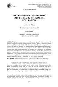 the continuity of psychotic experiences in the general population
