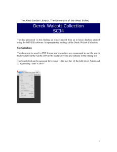 Derek Walcott Collection - The University of the West Indies