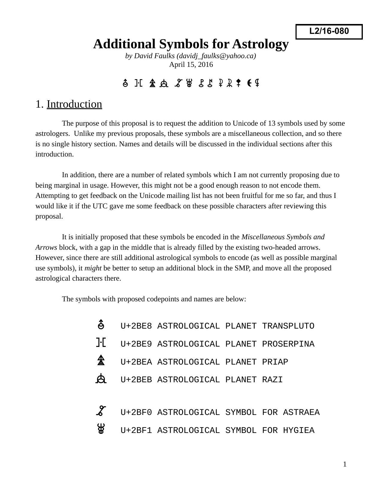 Additional Symbols for Astrology