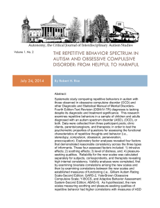 The Repetitive Behavior Spectrum in Autism and Obsessive