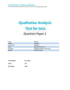 Qualitative Analysis Test for Ions