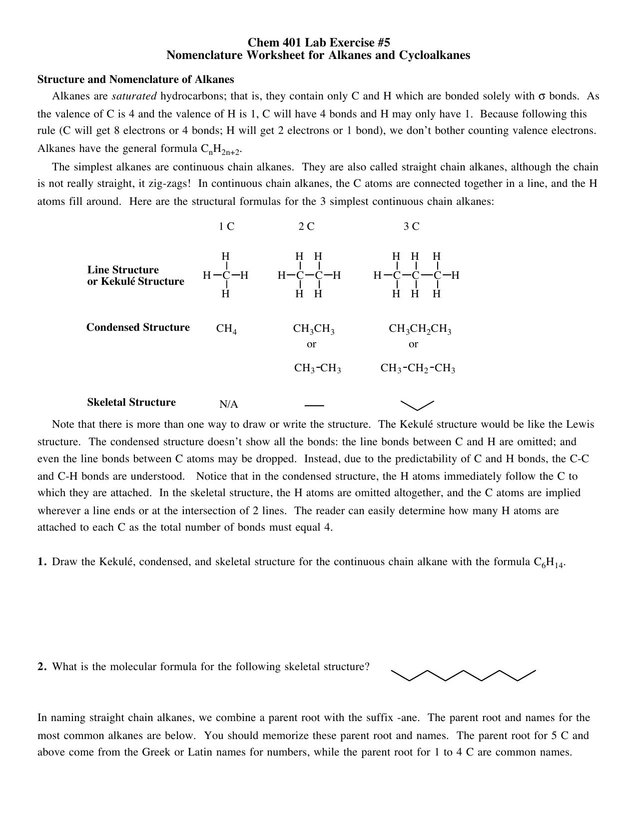 Chem 401 Lab Exercise #5 Nomenclature Worksheet for Alkanes