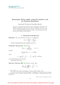 Ramanujan, Robin, highly composite numbers, and the Riemann