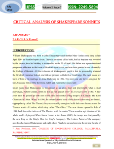 CRITICAL ANALYSIS OF SHAKESPEARE SONNETS