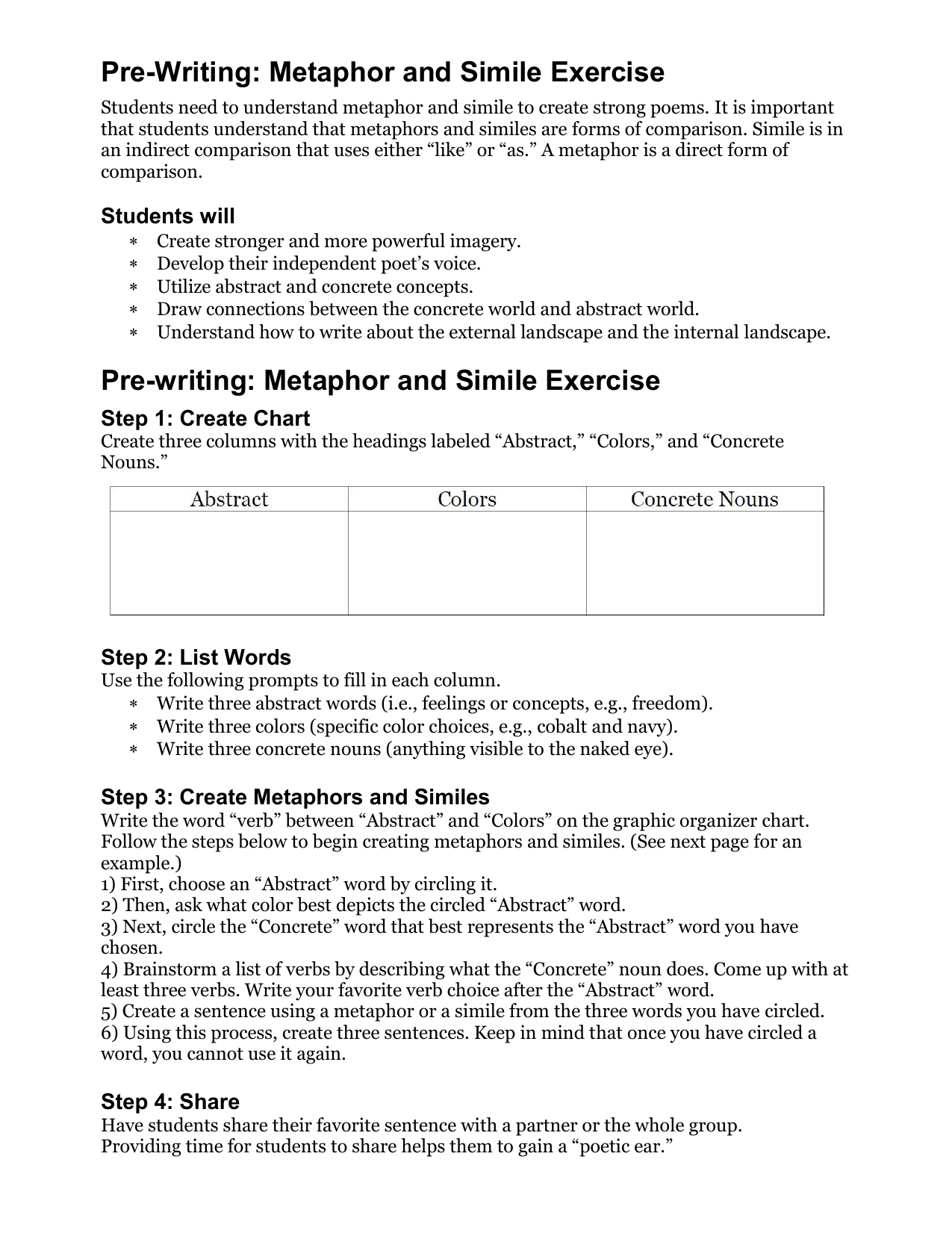 Pre-Writing: Metaphor and Simile Exercise