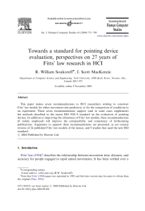 Towards a standard for pointing device evaluation