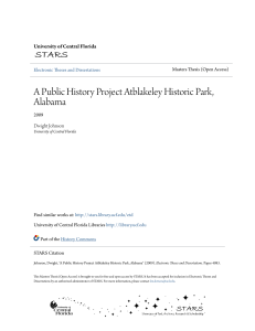 A Public History Project Atblakeley Historic Park, Alabama